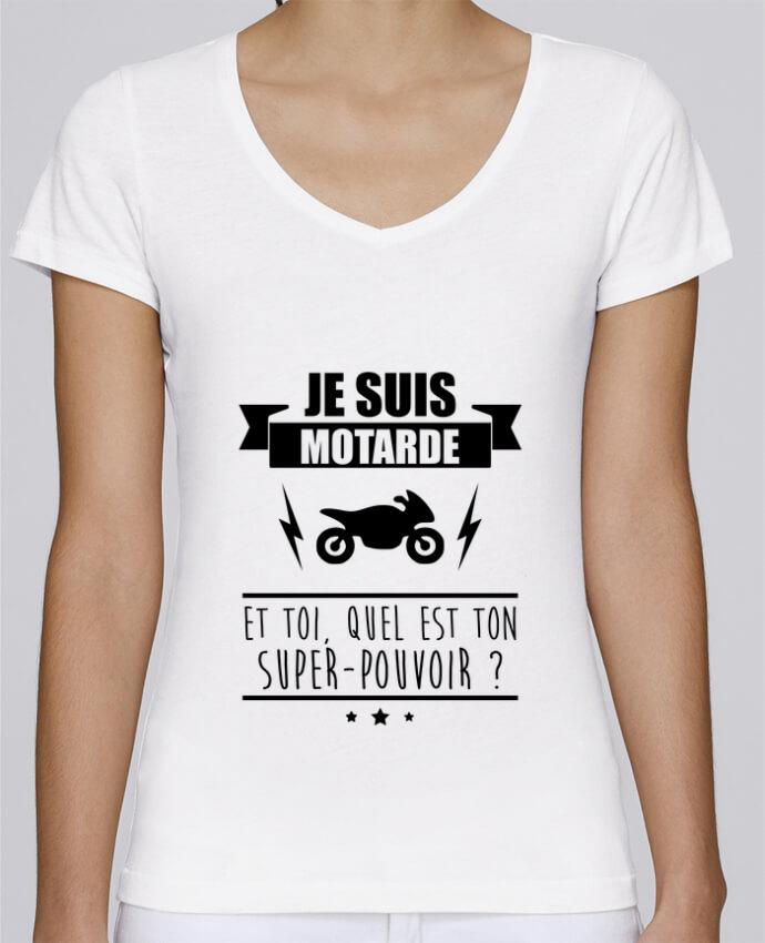 Camiseta Mujer Cuello en V Stella Chooses Je suis motarde et toi, quel est ton super-pouvoir ? por Benichan