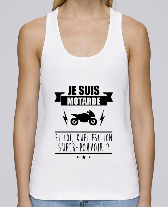 Camiseta de tirantes algodón orgánico mujer Stella Dreams Je suis motarde et toi, quel est ton super-pouvoir ? por Benichan en coton Bio