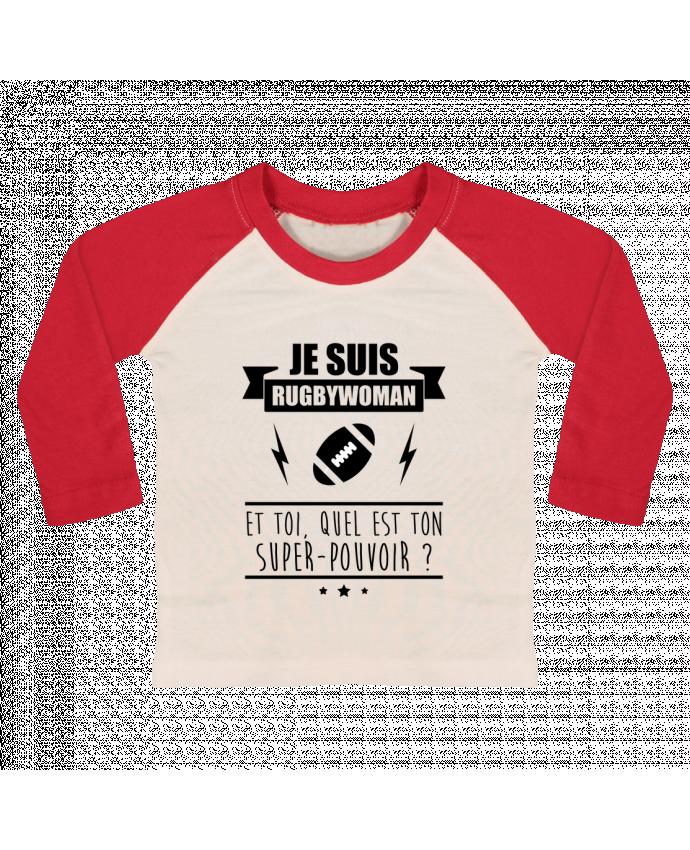 Camiseta Bebé Béisbol Manga Larga Je suis rugbywoman et toi, quel est ton super-pouvoir ? por Benichan