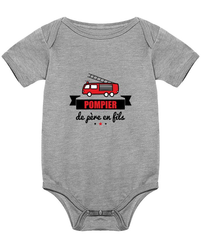 Body Bebé Pompier de père en fils, pompier por Benichan