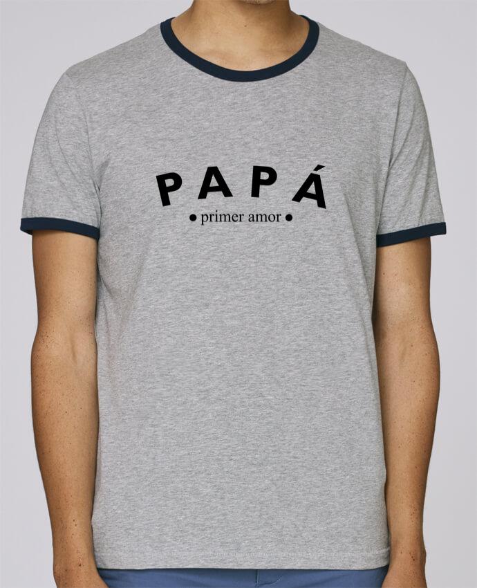 Camiseta Bordes Contrastados Hombre Stanley Holds Papá primer amor pour femme por tunetoo