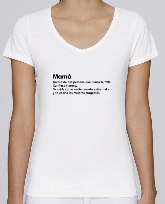 Camiseta Mujer Cuello en V Stella Chooses Mamá definición por tunetoo