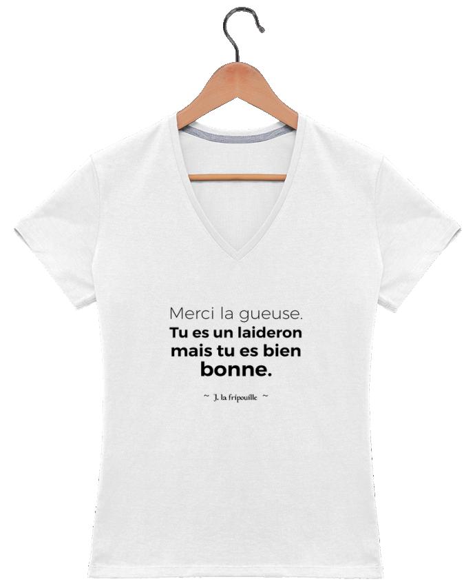 Camiseta Mujer Cuello en V Merci la gueuse por tunetoo