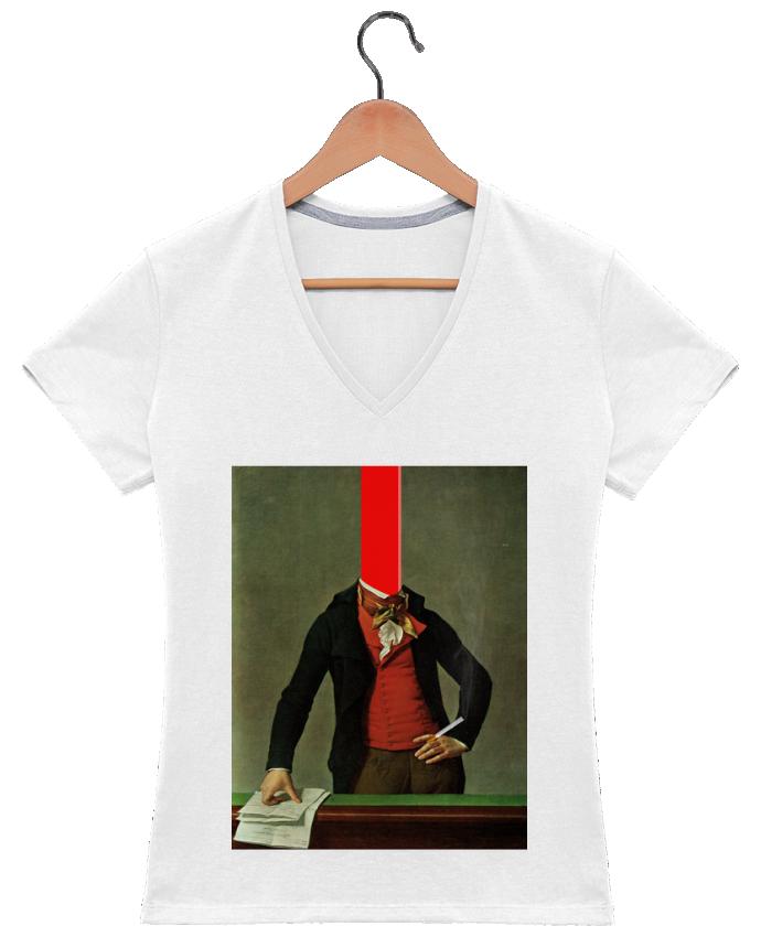 Camiseta Mujer Cuello en V The red stripe in the head and the cigarette in the hand por Marko Köppe