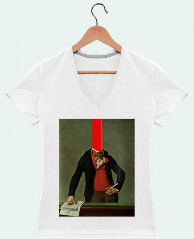 Camiseta Mujer Cuello en V The red stripe in the head and the cigarette in the hand por Marko Köppe