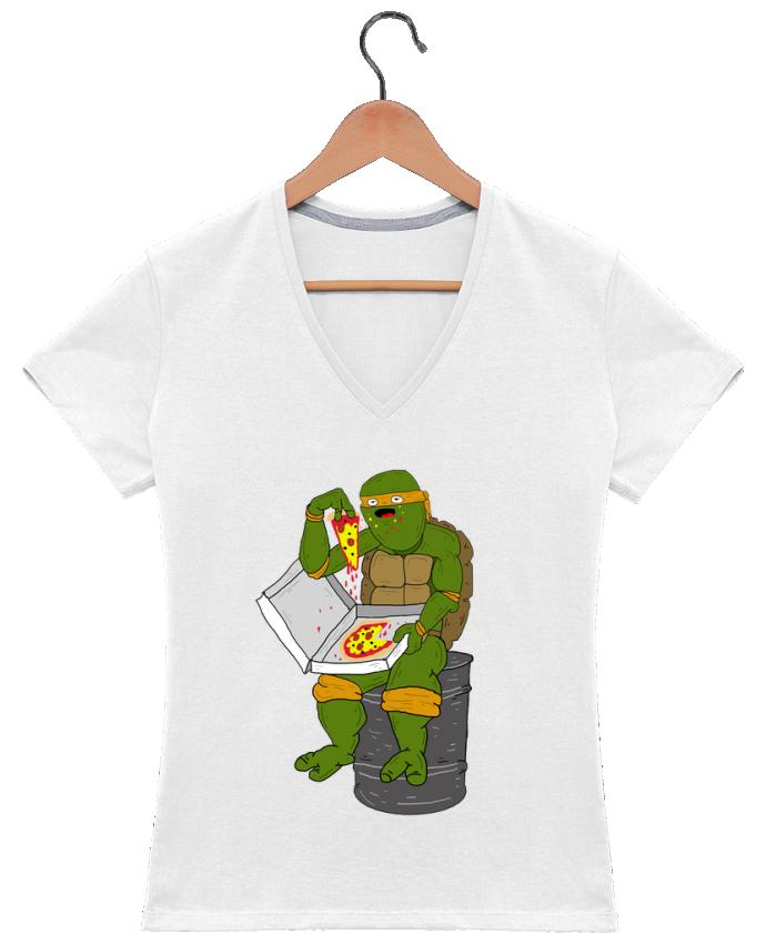 Camiseta Mujer Cuello en V Pizza por Nick cocozza
