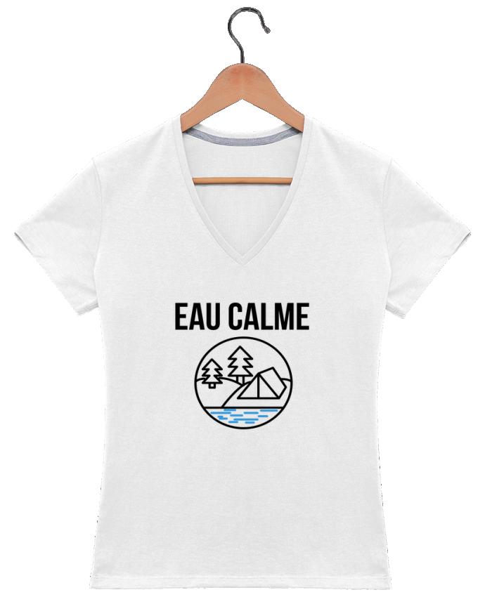Camiseta Mujer Cuello en V eau calme por Ruuud