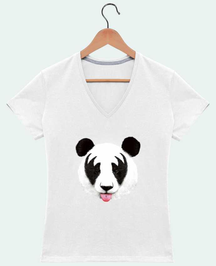 Camiseta Mujer Cuello en V Kiss of a panda por robertfarkas