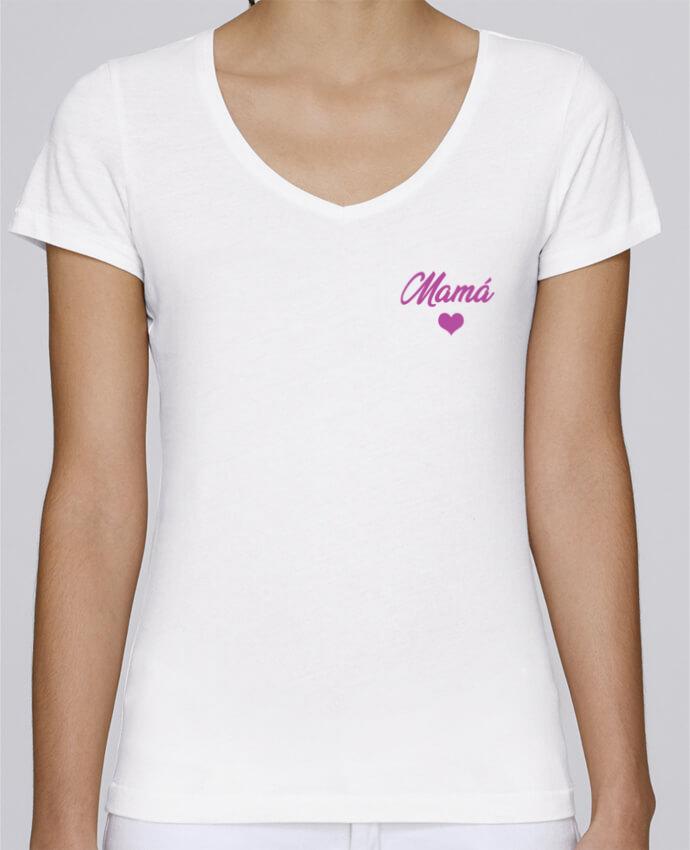 Camiseta Mujer Cuello en V Stella Chooses Mamá por tunetoo