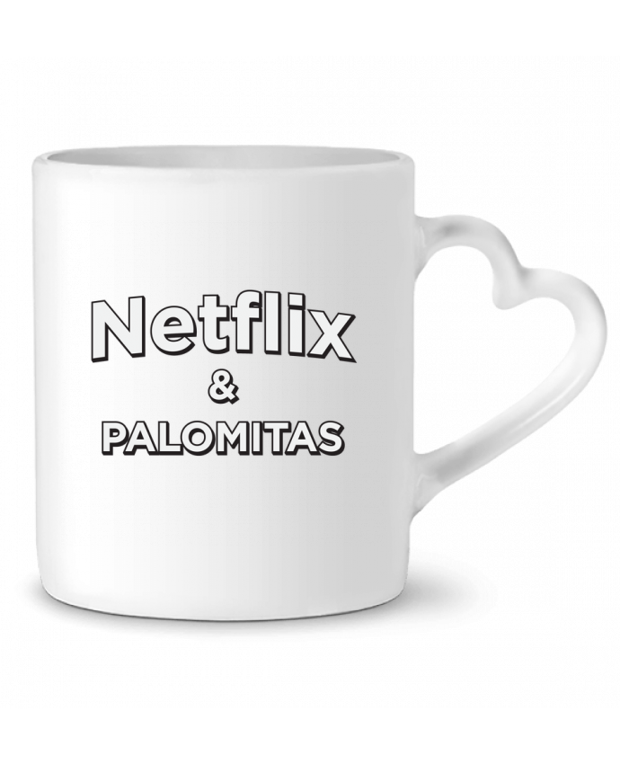 Taza Corazón Netflix and palomitas por tunetoo