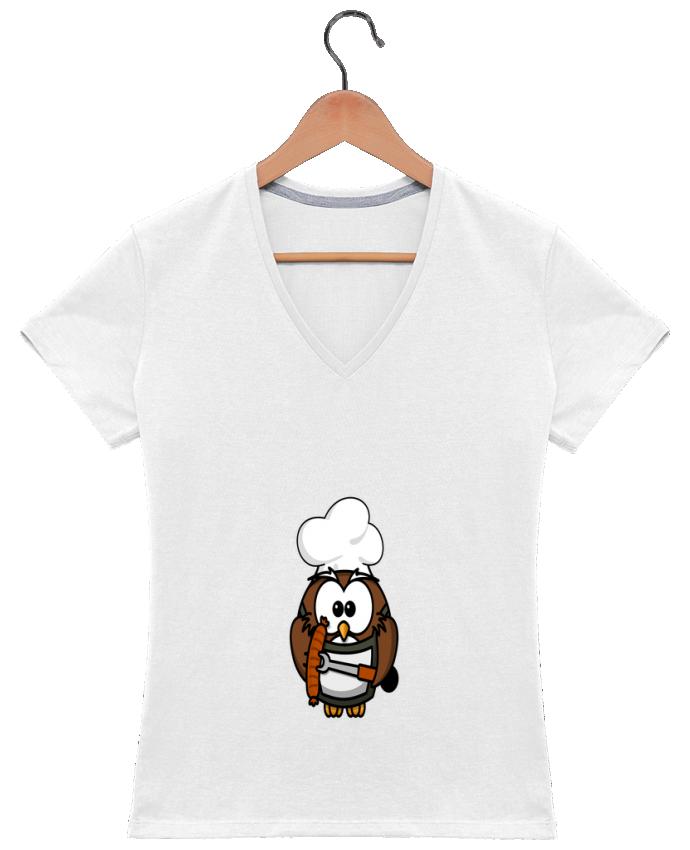Camiseta Mujer Cuello en V BARBECUE OWL por PrinceDesign