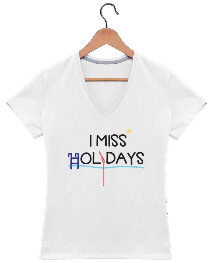 Camiseta Mujer Cuello en V I miss holidays por tunetoo
