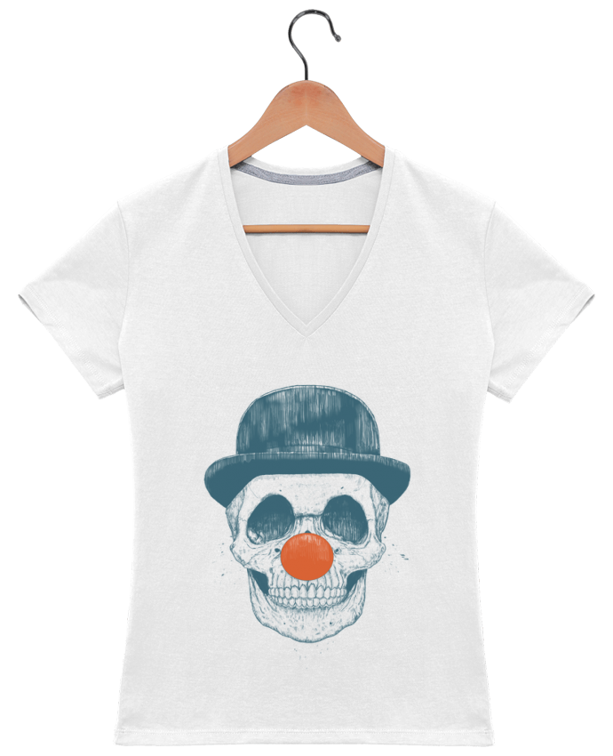 Camiseta Mujer Cuello en V Dead Clown por Balàzs Solti