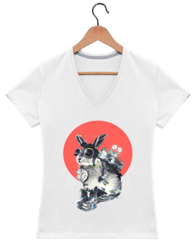 Camiseta Mujer Cuello en V time traveller por ali_gulec