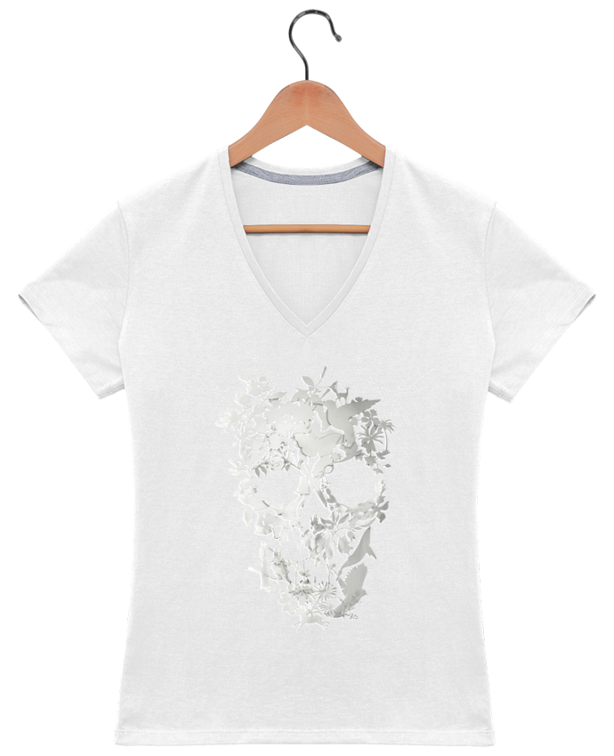 Camiseta Mujer Cuello en V Simple Skull por ali_gulec