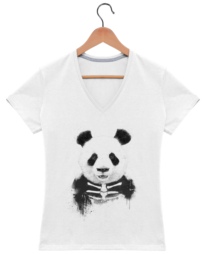 Camiseta Mujer Cuello en V Zombie Panda por Balàzs Solti