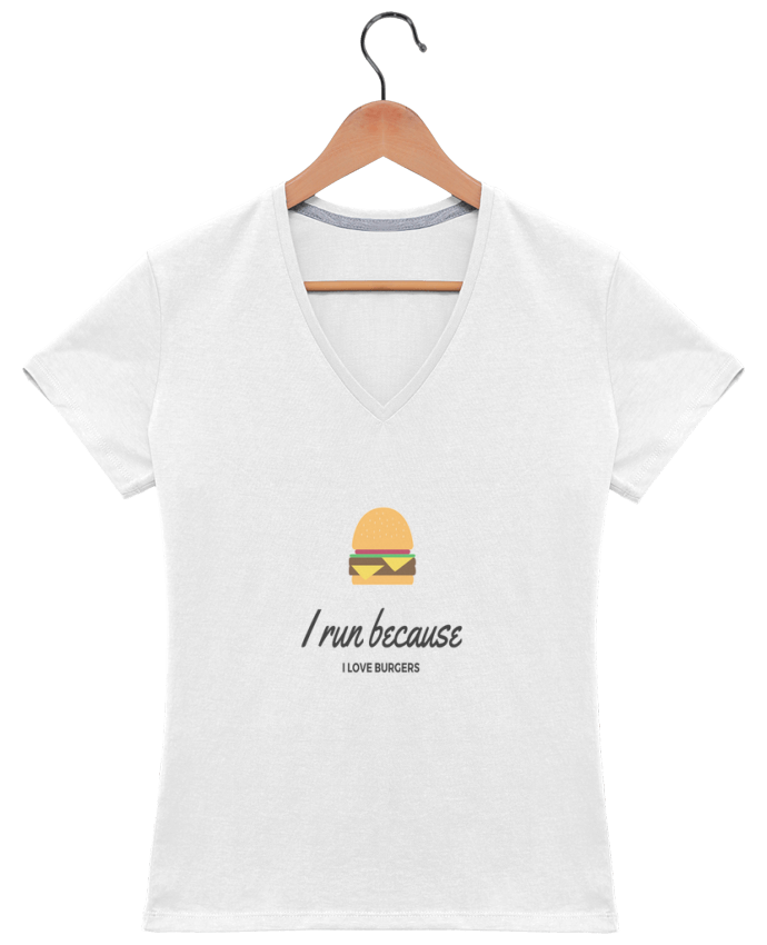 Camiseta Mujer Cuello en V I run because I love burgers por followmeggy