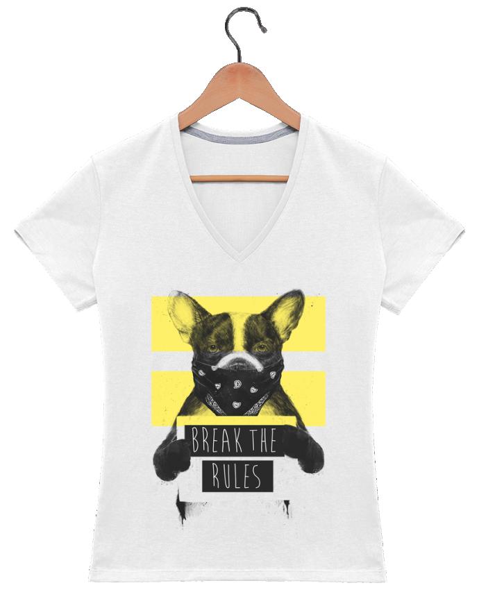 Camiseta Mujer Cuello en V rebel_dog_yellow por Balàzs Solti