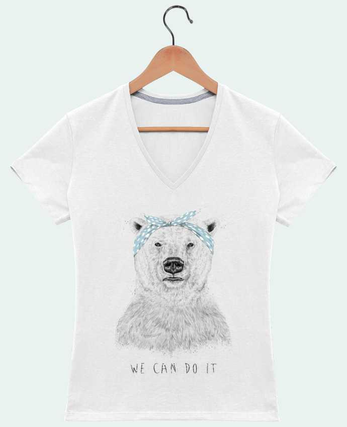 Camiseta Mujer Cuello en V we_can_do_it por Balàzs Solti