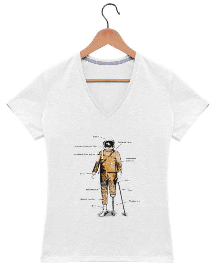 Camiseta Mujer Cuello en V Astropirate with text por Florent Bodart