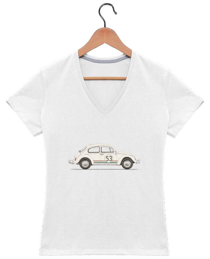 Camiseta Mujer Cuello en V Beetle por Florent Bodart