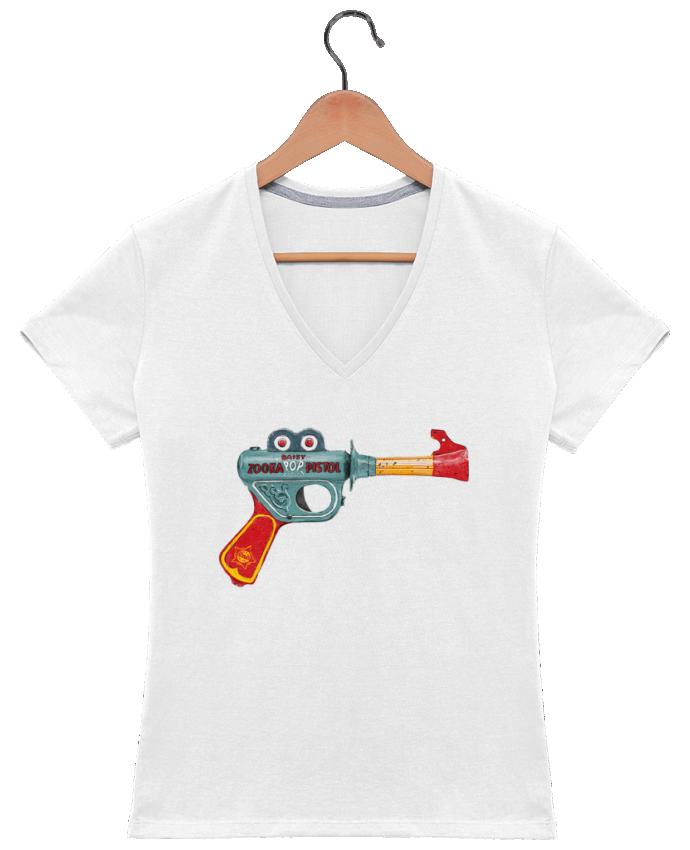 Camiseta Mujer Cuello en V Gun Toy por Florent Bodart