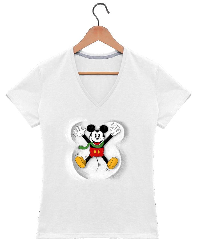 Camiseta Mujer Cuello en V Mickey in snow por Florent Bodart