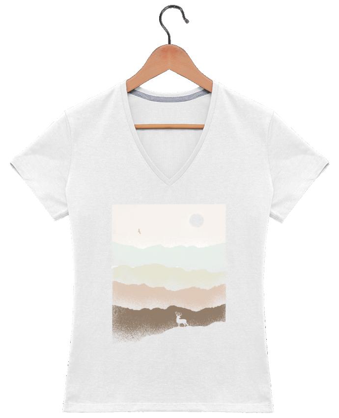 Camiseta Mujer Cuello en V Quietude por Florent Bodart