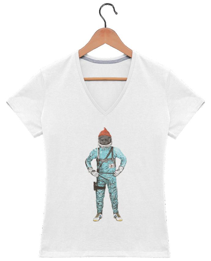 Camiseta Mujer Cuello en V Zissou in space por Florent Bodart