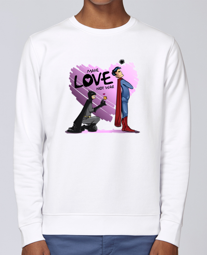 Sudadera básica manga pegada unisexo Stanley Stella Rise MAKE LOVE NOT WAR (BATMAN VS SUPERMAN) por teeshirt-design.com