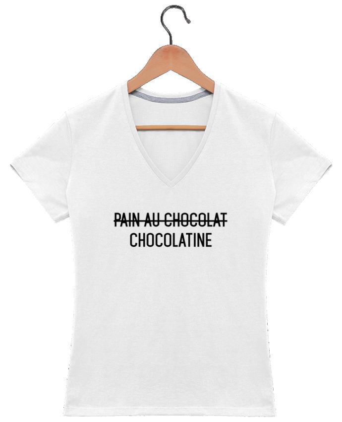 Camiseta Mujer Cuello en V Chocolatine por tunetoo