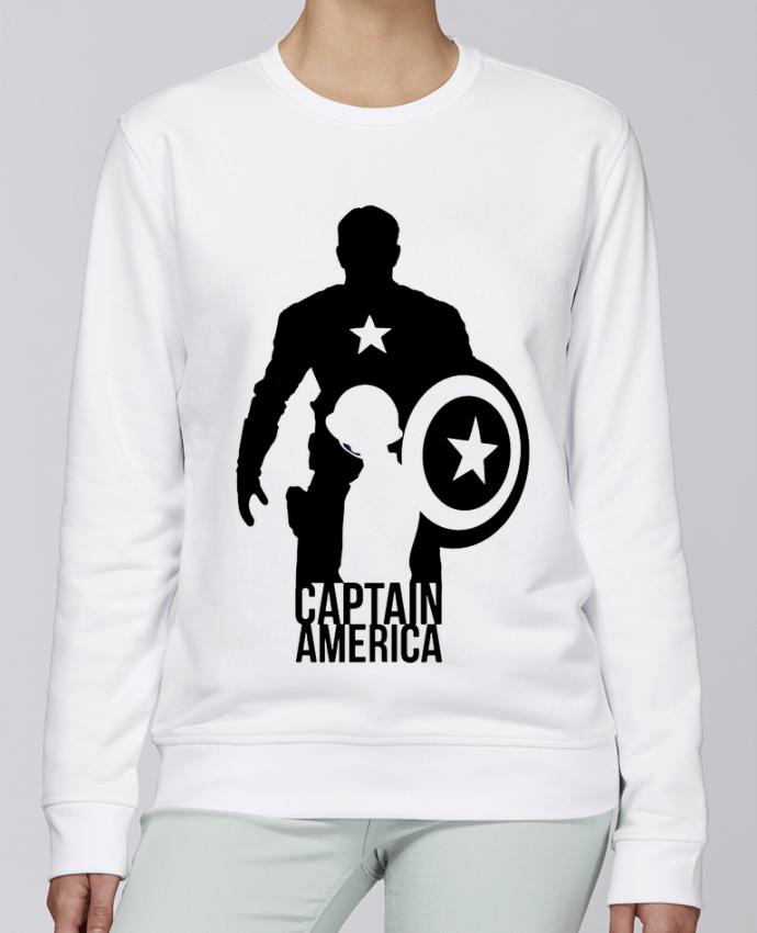 Sudadera básica manga pegada unisexo Stanley Stella Rise Captain america por Kazeshini