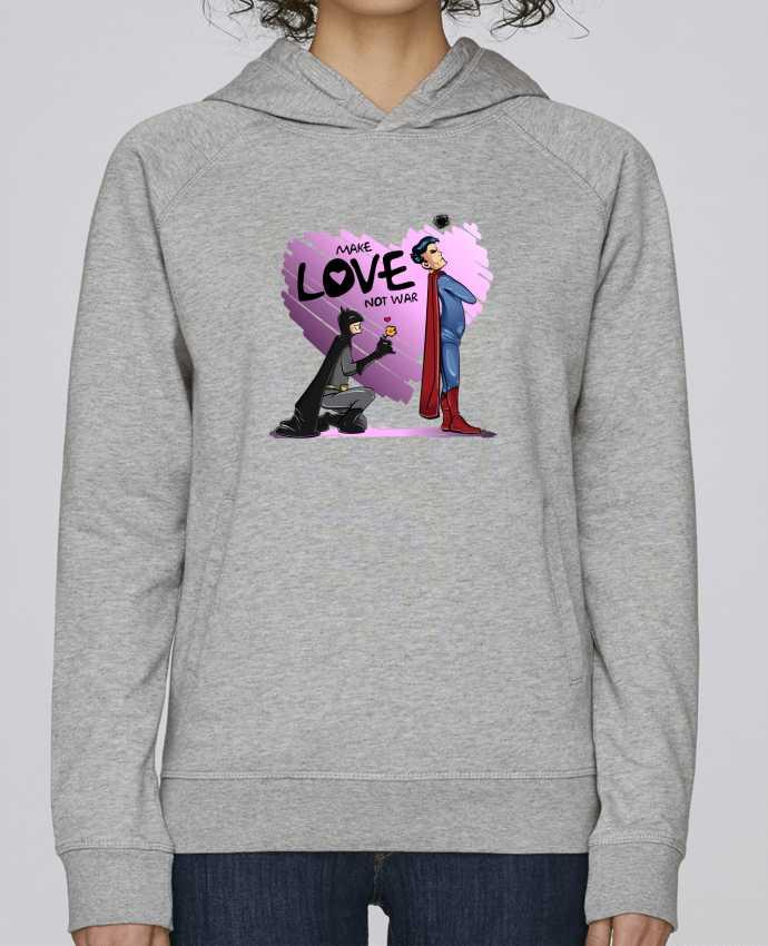 Sudadera Hombre Capucha Stanley Base MAKE LOVE NOT WAR (BATMAN VS SUPERMAN) por teeshirt-design.com