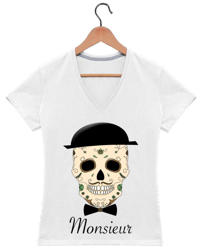 Camiseta Mujer Cuello en V Calavera Monsieur por Mx ARTificiel