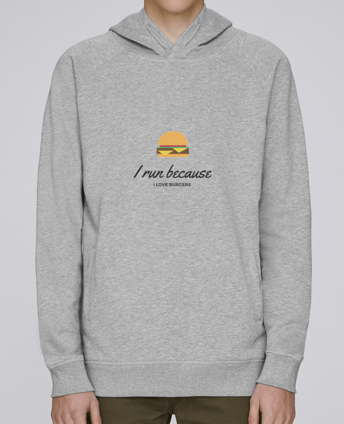 Sudadera Hombre Capucha Stanley Base I run because I love burgers por Dream & Inspire