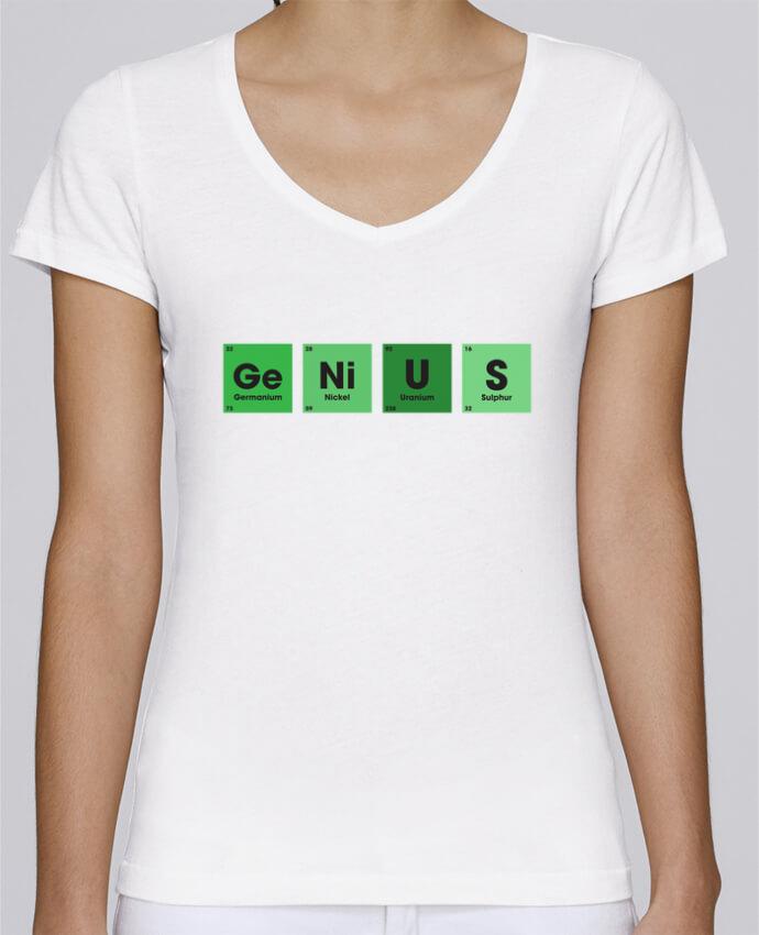 Camiseta Mujer Cuello en V Stella Chooses GENIUS por tunetoo