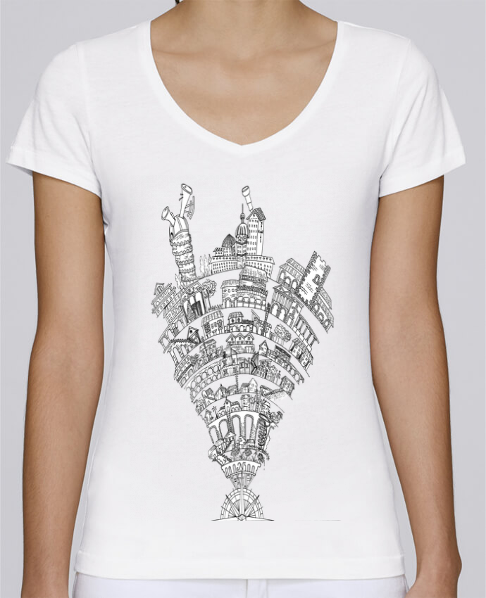 Camiseta Mujer Cuello en V Stella Chooses Perintzia invisible city por Jugodelimon