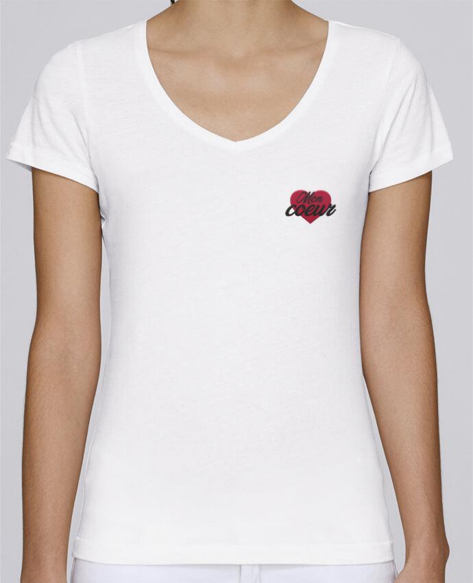 T-shirt femme brodé Stella Chooses Mon coeur por tunetoo