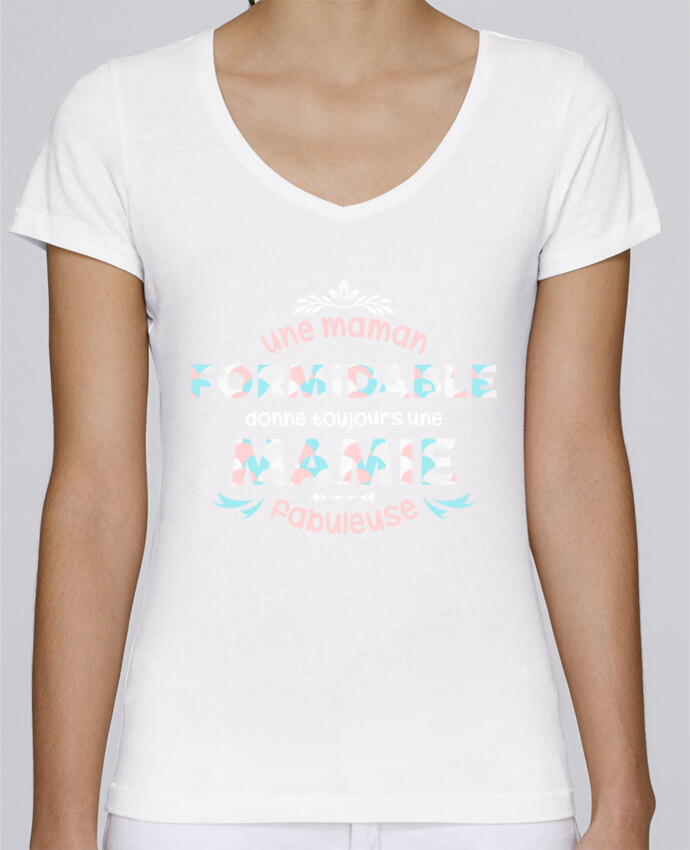 Camiseta Mujer Cuello en V Stella Chooses maman formidable = mamie fabuleuse por tunetoo