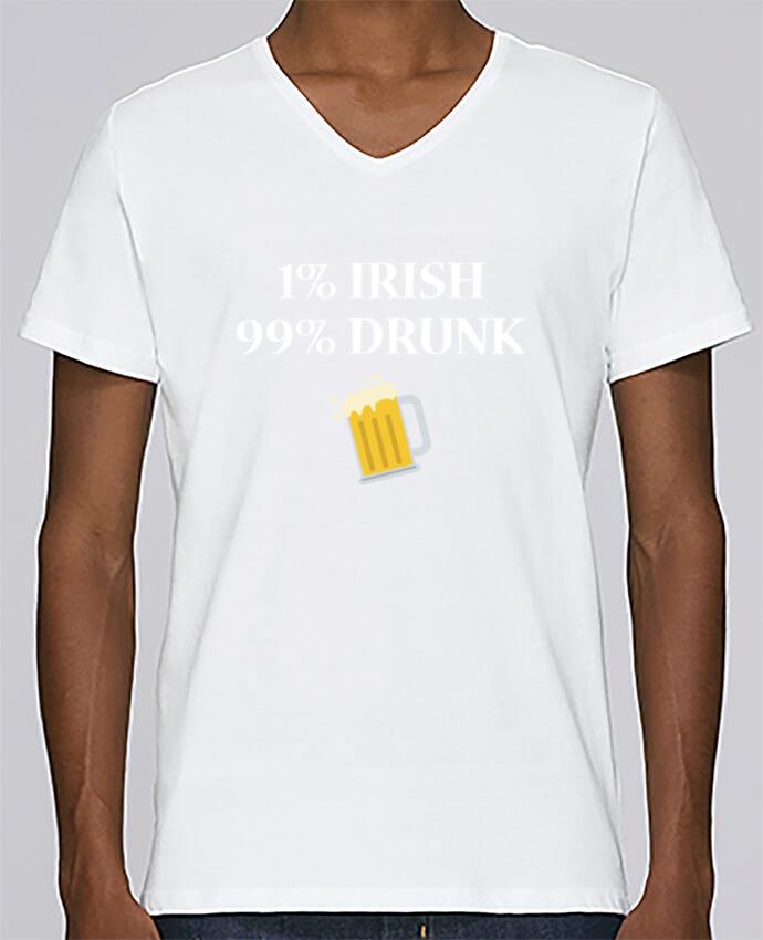 Camiseta Hombre Cuello en V Stanley Relaxes 1% Irish 99% Drunk por tunetoo
