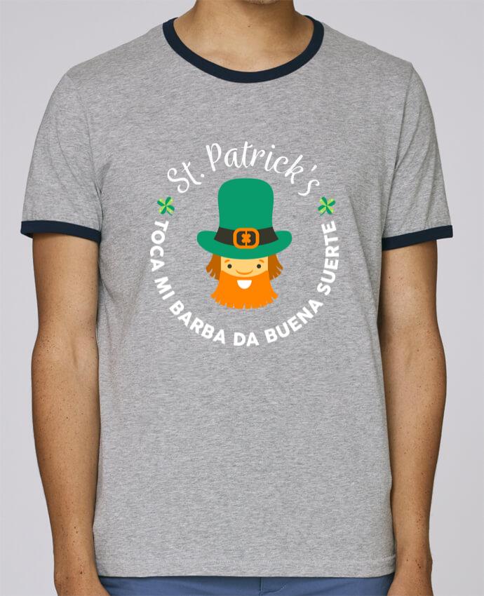 Camiseta Bordes Contrastados Hombre Stanley Holds Toca mi barba - St Patrick pour femme por tunetoo