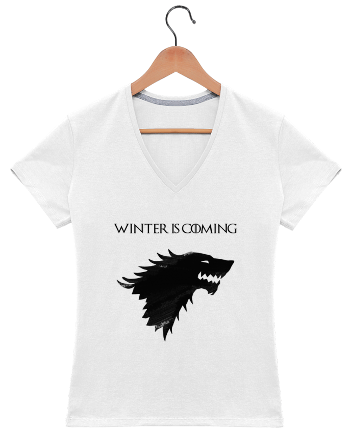 Camiseta Mujer Cuello en V Winter is coming - Stark por tunetoo
