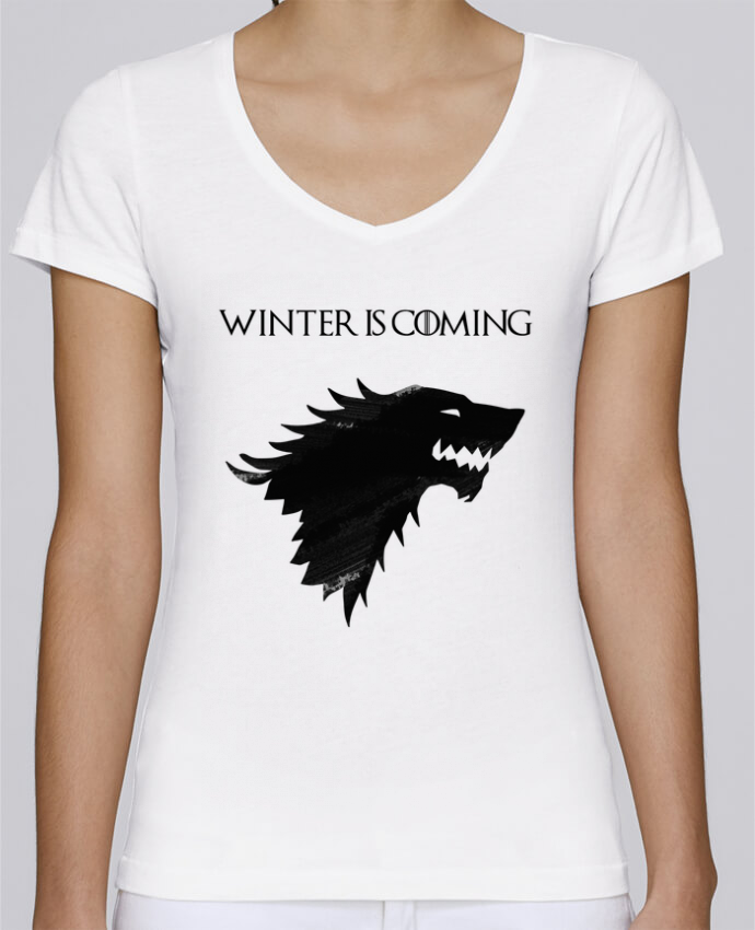 Camiseta Mujer Cuello en V Stella Chooses Winter is coming - Stark por tunetoo