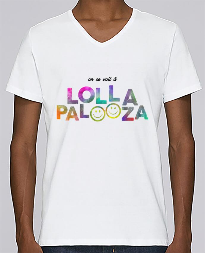 Camiseta Hombre Cuello en V Stanley Relaxes On se voit à Lollapalooza por tunetoo