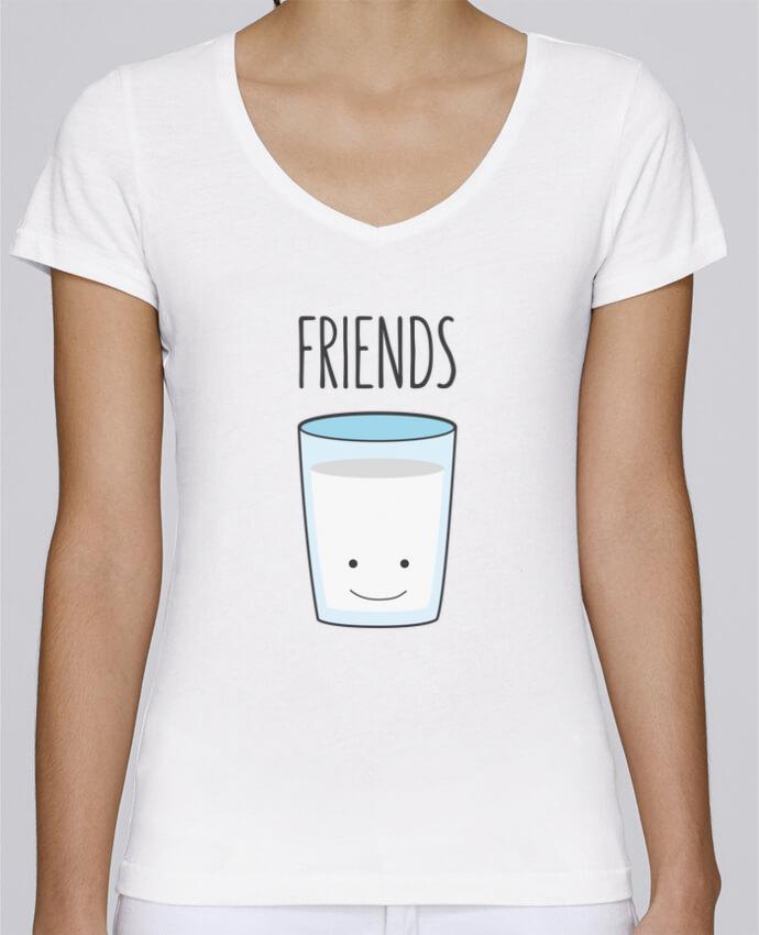 Camiseta Mujer Cuello en V Stella Chooses BFF - Cookies & Milk 2 por tunetoo