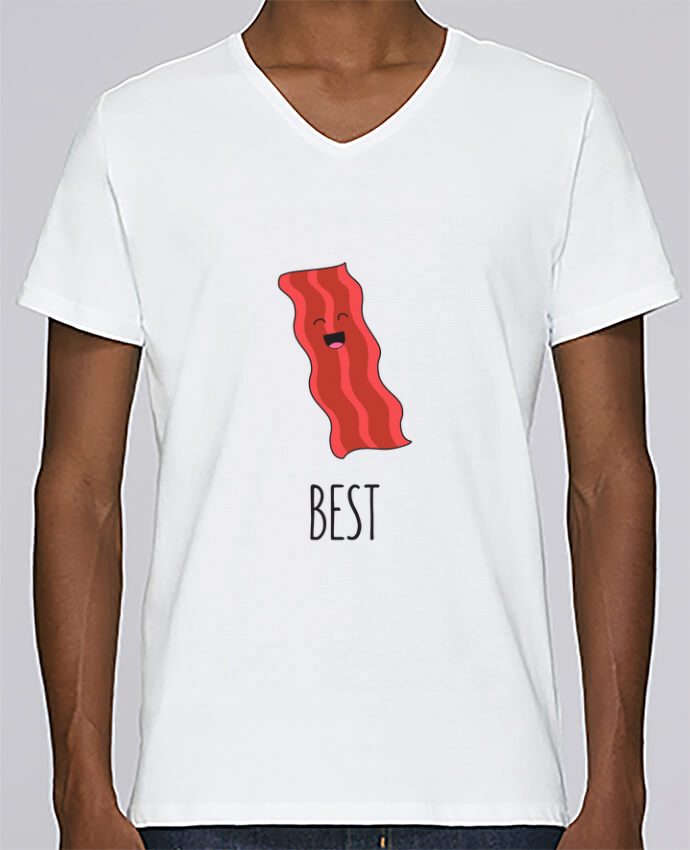 Camiseta Hombre Cuello en V Stanley Relaxes BFF - Bacon and egg 1 por tunetoo