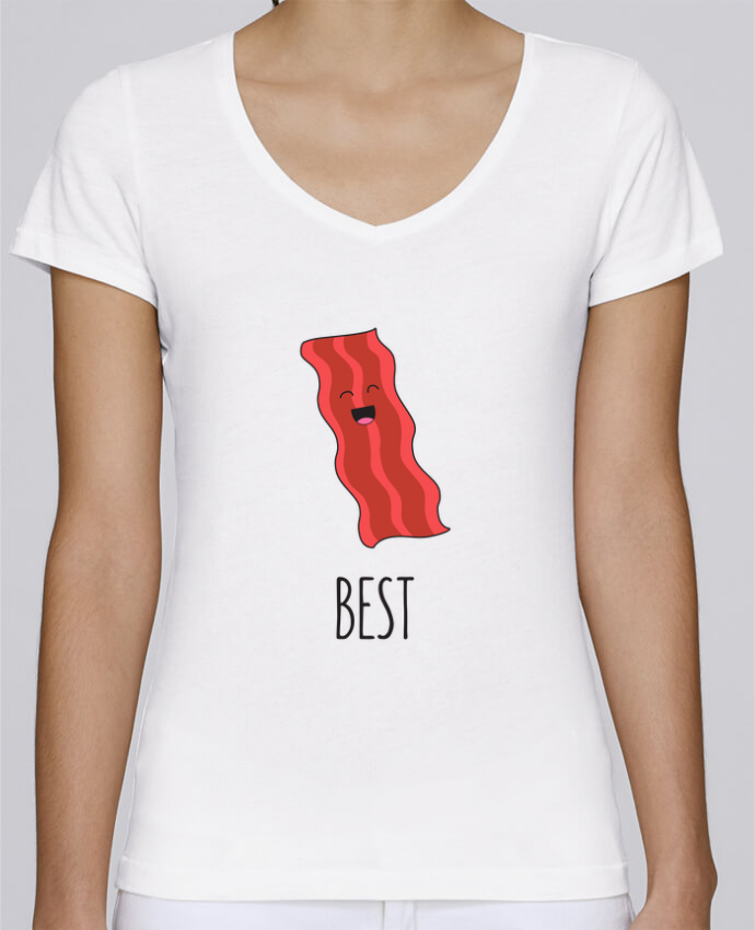 Camiseta Mujer Cuello en V Stella Chooses BFF - Bacon and egg 1 por tunetoo