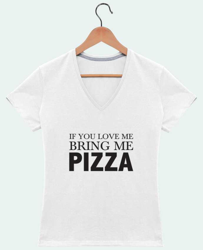 Camiseta Mujer Cuello en V Bring me pizza por tunetoo