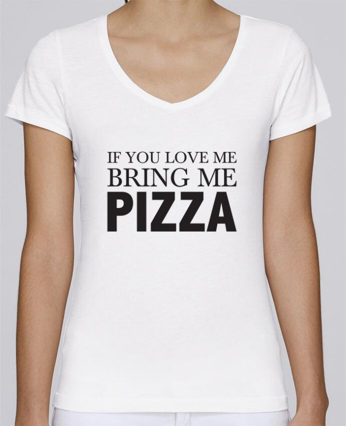 Camiseta Mujer Cuello en V Stella Chooses Bring me pizza por tunetoo