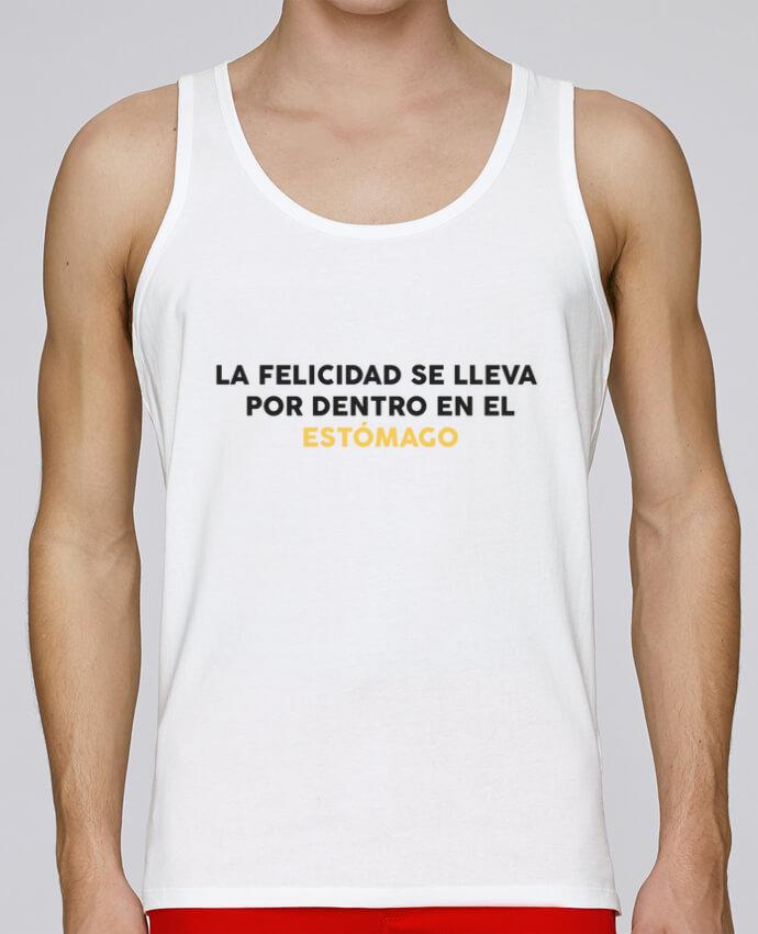 Camiseta de tirantes algodón orgánico hombre Stanley Runs La felicidad se lleva por dentro en el estómago por tunetoo 100% coton bio
